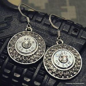40 caliber silver bullet casing CZ earrings