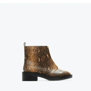 Zara printed leather ankle boots