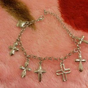 Jewelry - Silver tone dangling cross bracelet