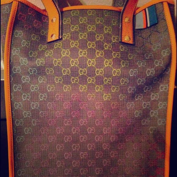 cc59eea965e Authentic limited RAINBOW Gucci shopper tote.