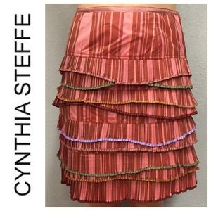 CYNTHIA STEFFE Striped Layered Skirt