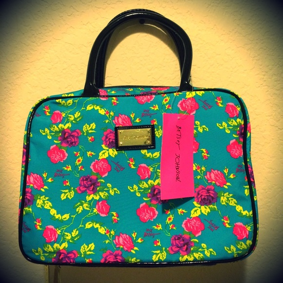 Betsey Johnson - Teal Betsey Johnson Rose Patterned Makeup Bag from ...