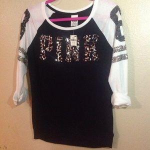 PINK Cheetah Bling Varsity XS NWT!