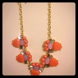 Coral and pink statement necklace