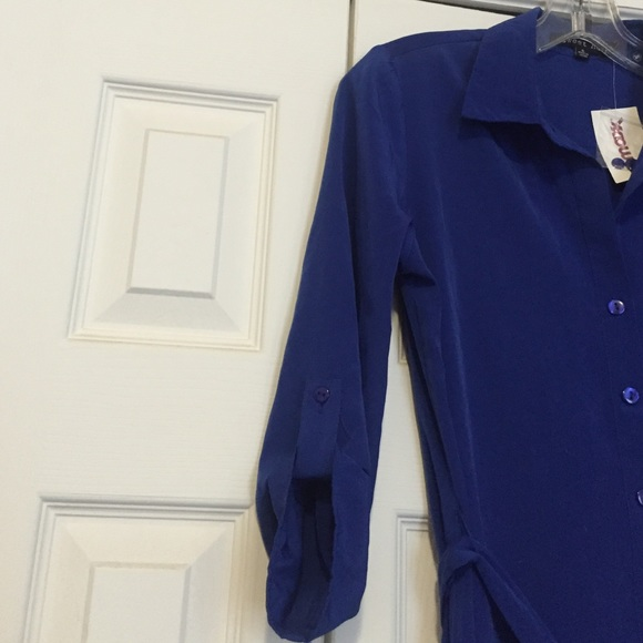 Royal Blue Button Up Shirt Dress Tie Waist Tunic S From
