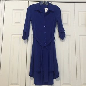 Royal blue button up shirt dress tie waist tunic s from for Royals button up shirt