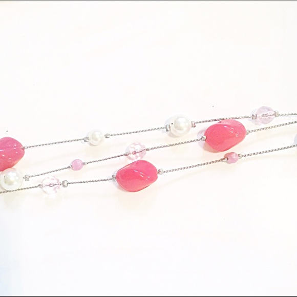 Jewelry - 👑Pink & Pearl Convertible Necklace