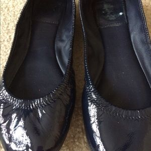Tory Burch Navy Patent Leather Eddie Ballet Flats