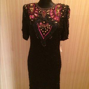 Vtg 80s Beaded Silk Cocktail Dress Keyhole Back