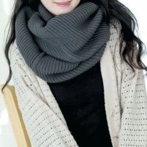 gray crochet knit infinity scarf