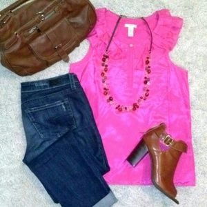 J Crew Hot Pink Silk Blouse 57