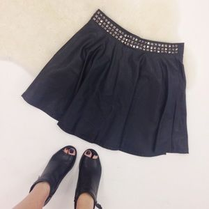 Dresses & Skirts - Faux Leather Studded Skater Skirt