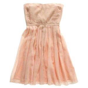 madewell // storybook silk strapless dress • peach
