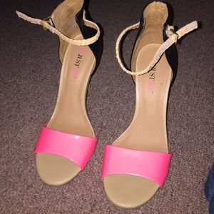 Just Fab pink and black sandal heels