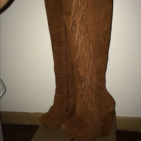 2948ca0366b68 Jessica Simpson Shoes | Sold On Vinted Camel Fringe Thigh High Wedge ...