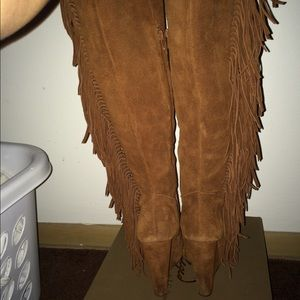 75cbcab122f2c Jessica Simpson Shoes - SOLD ON VINTED Camel Fringe Thigh High Wedge Boot