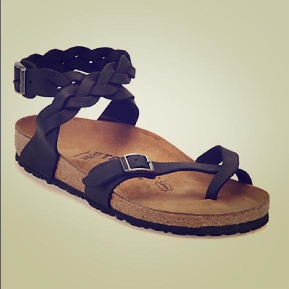Brown Braided Yara Birkenstock Sandals Size 37