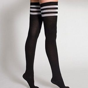 Accessories - Thigh high socks black white stripe rugby athletic