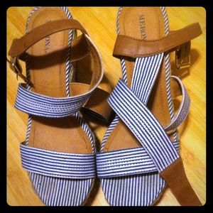 Merona blue strappy wedges!