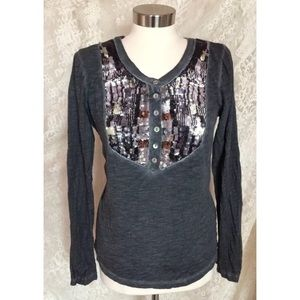 Free People Sequin Acid Wash Shirt