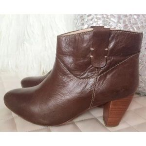 "Rebecca Minkoff ""Doll"" Brown Leather Ankle Booties"