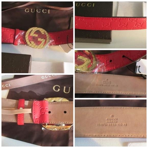 8ccc31219ae Red Guccissima Belt   Interlocking Gold Buckle