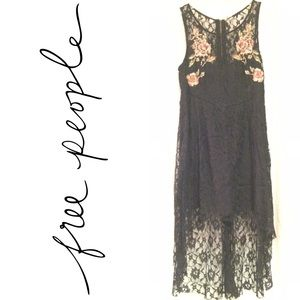 Free People black lace & floral high low dress