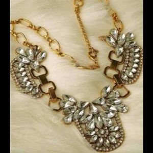 Gold Rhinestone Statement Necklace