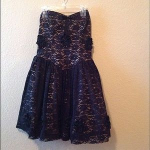 Betsey Johnson black lace rosette strapless dress