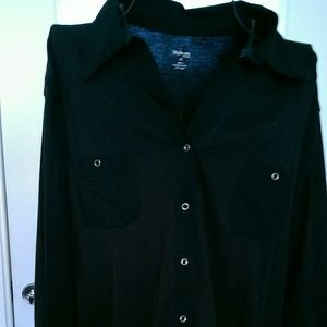 Style & Co. Black Shirt with Collar & Silver Snaps