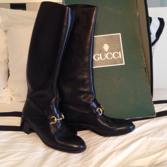 4ad637bcc Gucci Shoes | Black Riding Boots 8 12 Vintage | Poshmark