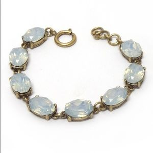 Simulated Opal Bracelet Set in Antiqued Gold Tone