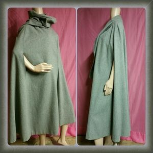 Vtg Gray Wool Cape Long Scarf 60's 70's