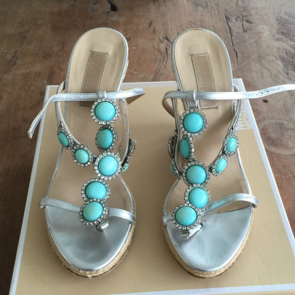 8a2248f3894 MICHAEL KORS TURQUOISE AND CRYSTAL WEDGE SANDAL. M 54f7789e13302a0c48002303