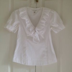 Banana Republic White Ruffle Blouse - sz 0