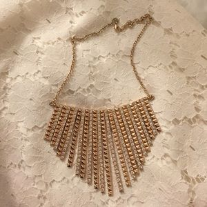 Gold & rhinestone fringe necklace