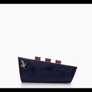 NWT Kate Spade All Aboard Ship Navy Blue Clutch