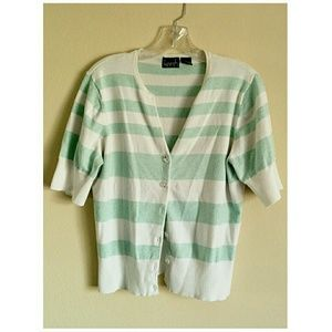 Kersh Short Sleeve Striped Mint/White Cardigan XL