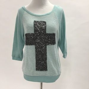Wet Seal Sweaters - Light Mint Cross Sweater