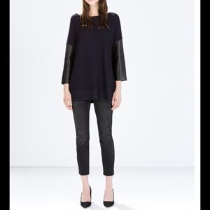 Zara Tops Sweater With Faux Leather Sleeves Black Poshmark
