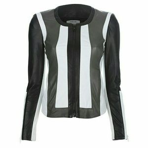 Helmut Lang Tri-Color Lamb Leather Jacket