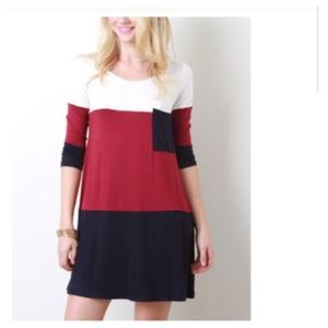 Dresses & Skirts - 40% OFF Red Navy White Jersey Tunic Dress