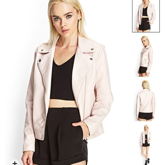 Forever 21 - Faux Leather Moto Jacket: Light Pink from