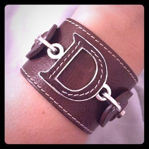 Christian Dior Brown Leather Cuff Bracelet