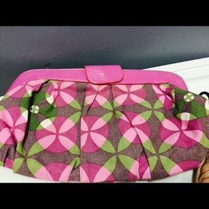 LuLu pink & green clutch -rare, hard-to-find purse