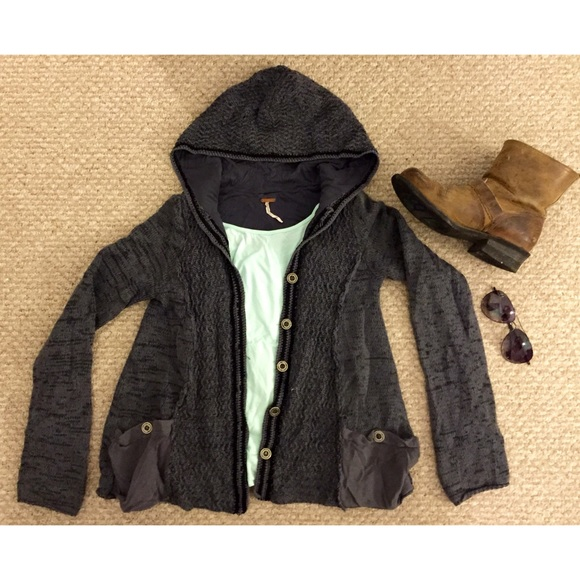 Free People - 🎀CCO SALE🎀Free People Hooded Button Up Sweater ...