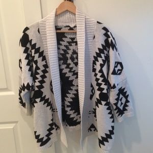 Outerwear - Black and white Aztec print cardigan