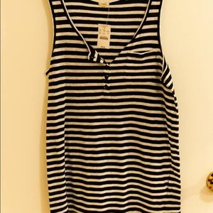 J. Crew stripes tank, navy/white, NWT