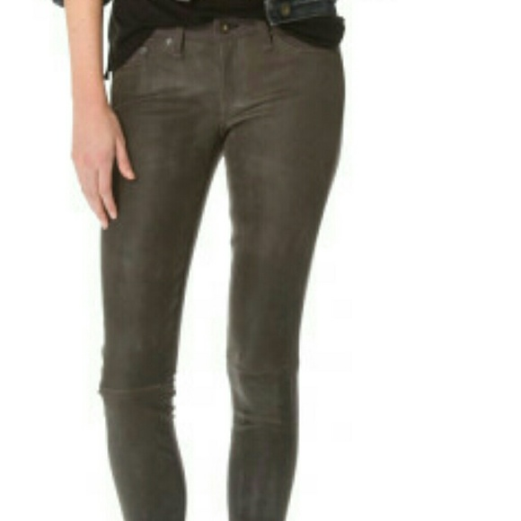 Denim Jeans With Leather Fronts Gray Leather Front Jeans