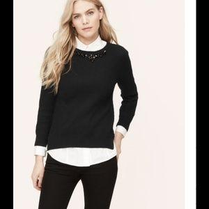 Ann taylor loft  jewelry black sweater (worn once)